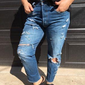 Levi's 501 CT Distressed DarkWash Jeans Sz: 32